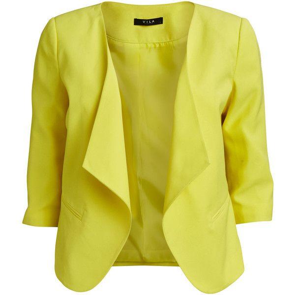 Vila Vibrash - Blazer (75 CAD) ❤ liked on Polyvore featuring outerwear, jackets, blazers, aurora, tall jacket, yellow blazer jacket, vila, 3/4 sleeve jacket and short blazer jacket