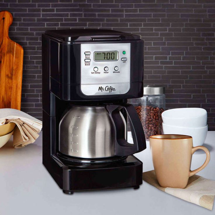 5-Cup Programmable Coffeemaker Mr Coffee Maker Brew Black Stainless Steel Carafe #MrCoffee