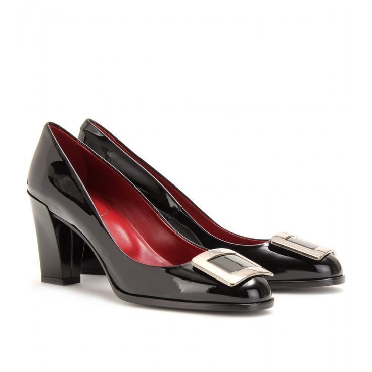 Roger Vivier Pumps,Roger Vivier Dark Black Patent Leather Heels - Special Price: $324.00