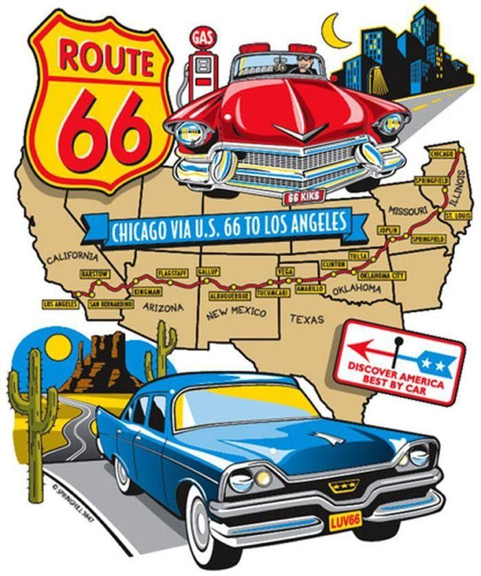 Adult Unisex T Shirt Two 1950s Cars On Route 66 Map 3847