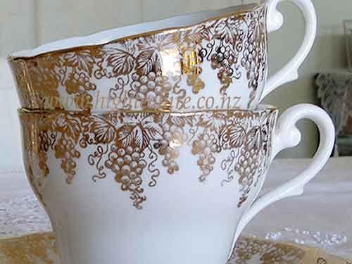 Bone china made in England. (no nameor code) Close up photo of the golden grapes