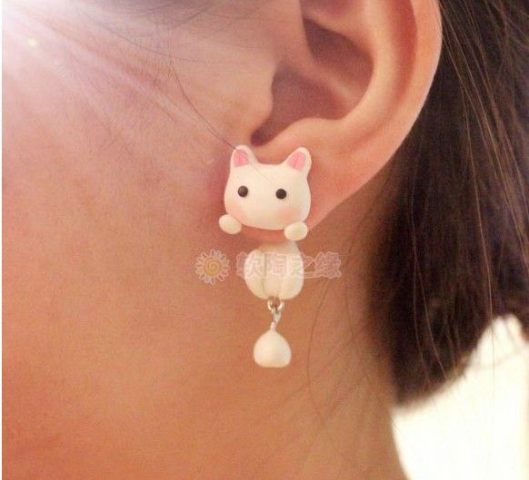 Handmade Fimo Free Shipping Earring Cartoon Cat Animal Flowers 925 Silver Stud…
