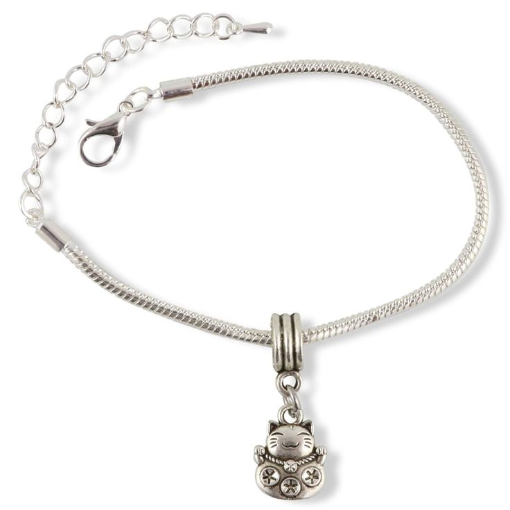 Happy Cat Snake Chain Charm Bracelet