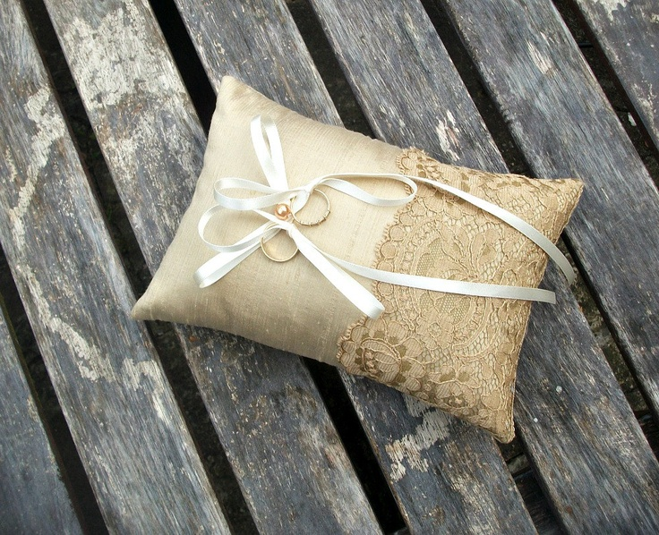 Ring Pillow, Wedding ring Cushion in Champagne Raw  Silk With a Strip of Vintage  Golden Brown Lace. $43.00, via Etsy.