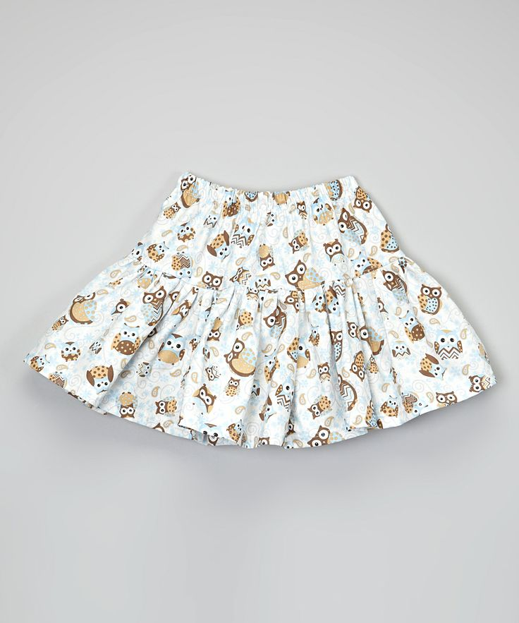 Brown & Blue Owl Twirl Skirt @Pascale Lemay De Groof