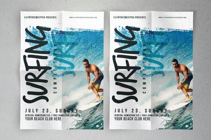 Surfing Competition flyer & poster #promotion #summer  • Download here → http://1.envato.market/c/97450/298927/4662?u=https://elements.envato.com/surfing-competition-flyer-poster-P2KELC