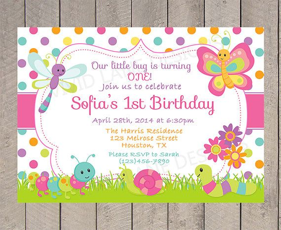 Primera invitación de cumpleaños niña, rosa, verde, lunares, mariposas, Caterpillar, flores, primavera, verano, Bugs 1 º 2 º, 3 º, 4 º - 5093