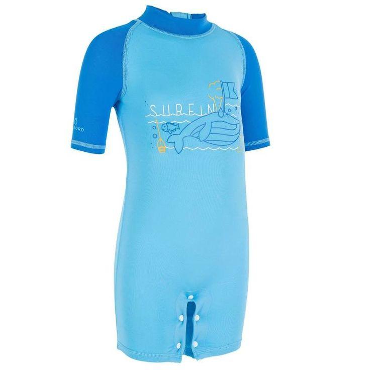 9,99€ - PRAIA - fatos banho_fatos_licras - Fato shorty UV Whale Bebé Azul - TRIBORD
