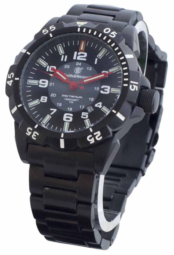 Smith & Wesson Emissary Tritium 44mm Black Face Strap SWW-88-B Tactical Watch