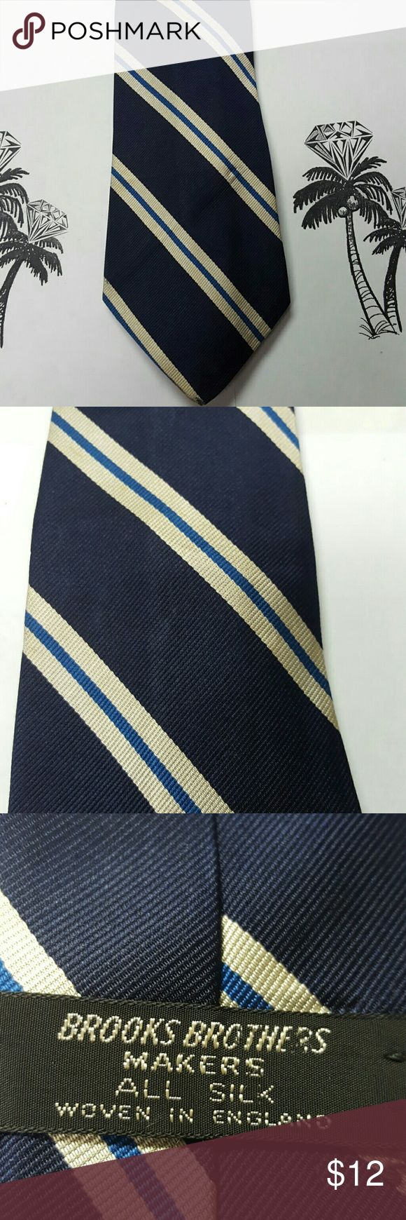 Vintage Brooks Brothers Silk Tie Navy and cream with blue striped tie. Good vintage condition. Brooks Brothers Accessories Ties