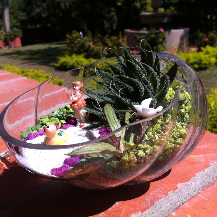 Terrario con suculentas en recipiente de vidrio con forma de caracol