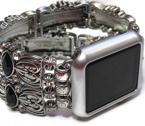 Black and Silver Apple Watch Band  BeadsnTime  Womans Apple