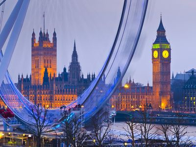 UK, England, London, London Eye, Houses of Parliament and Big Ben