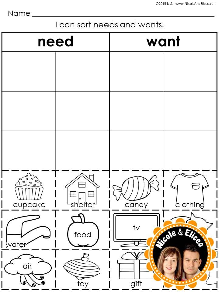 needs and wants sort - great for preschool & kindergarten