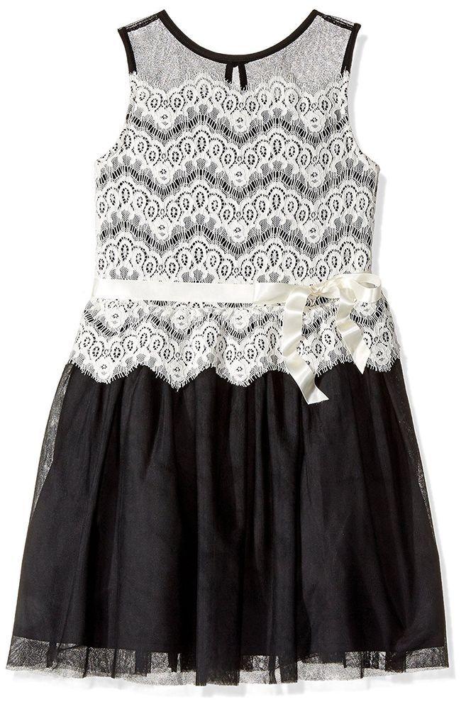 b8f26a3fc3e Amy Byer Girls Lace Overlay Tulle Illusion Sleeveless Dress Black Ivory Size  16  AmyByer  FitandFlare   ...