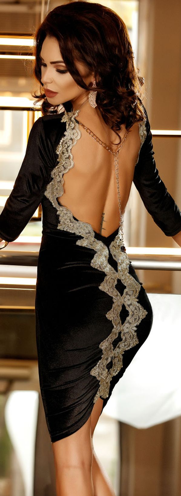 $34.99 Gold Embroidery Trim Open Back Ruched Black Midi Dress