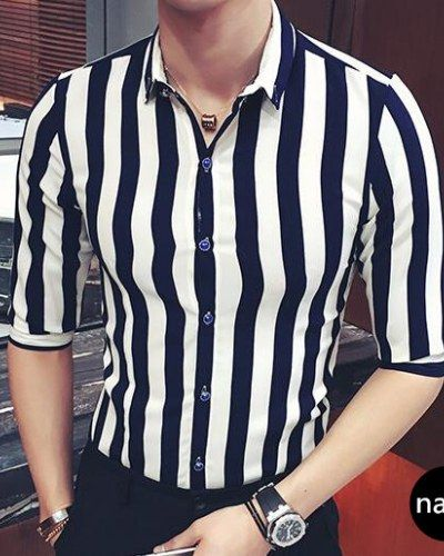 1fe086ba53 Black and white striped shirt for men half sleeve button down shirts plus  size clothing