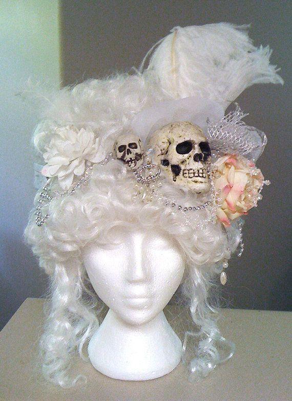 White Rococo Victorian Pirate Skull wig