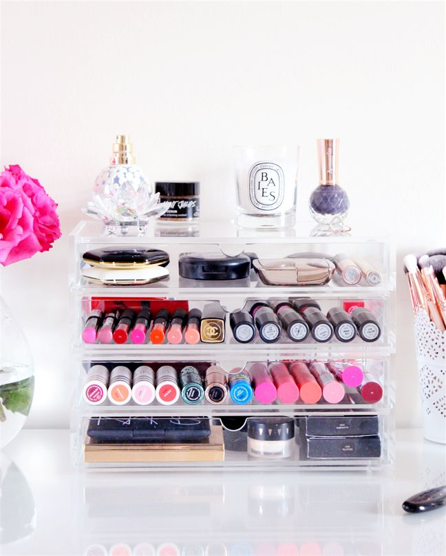 Make up storage. Clear plastic. Need to order from the container store.