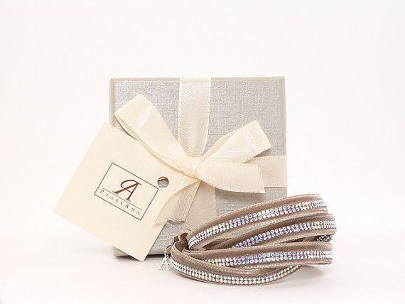 Swarovski brown, sand multi strand bracelet, multi strand wrap bracelet, brown swarovski crystal bracelet