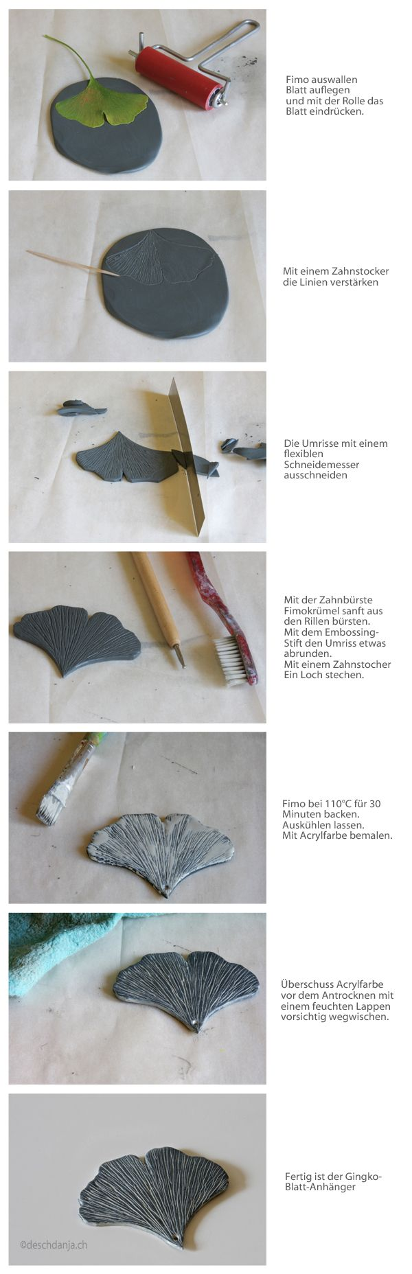How to make a leaf pendant from polymer clay. Instructions can be translated to English, but not the infographic.