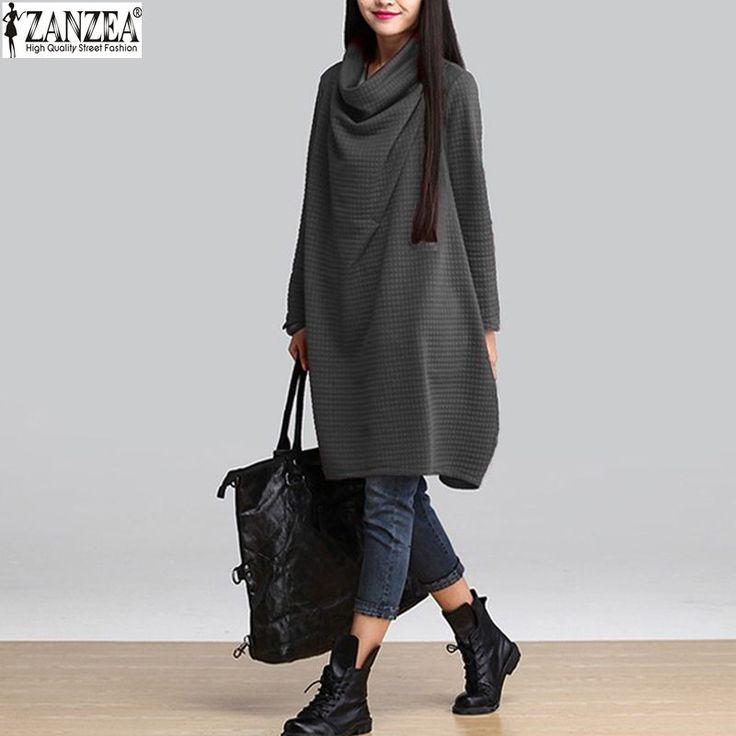 Vestidos 2015 Autumn Winter Women Casual Cotton Loose Scarf Collar Dress Solid Temperament Long Sleeve Blouse Plus Size Dress