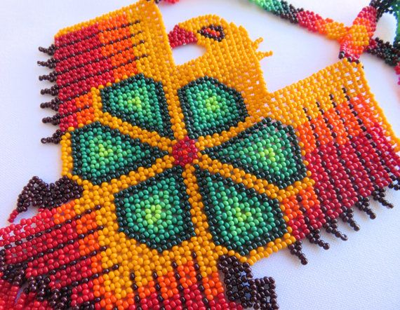 Mexican Huichol Orange Eagle and Green Peyote Necklace by Aramara