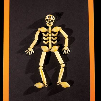 Skeletoni - Fun project for older children!  I placed all the supplies to complete one skeleton in a ziploc bag and passed them out at my son's 3rd grade Halloween Party.  It was a huge hit with the students and a wonderful keepsake for the parents :)