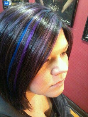 Black blue and purple highlight hair | Hair stuff ...