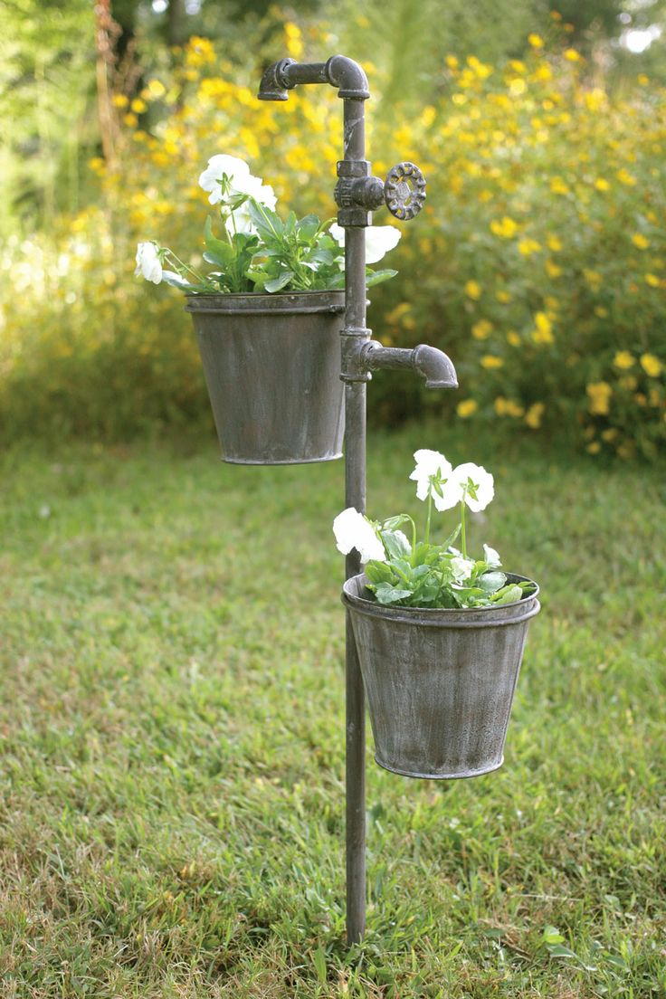 Water Faucet Garden Stakes With Double Planter.