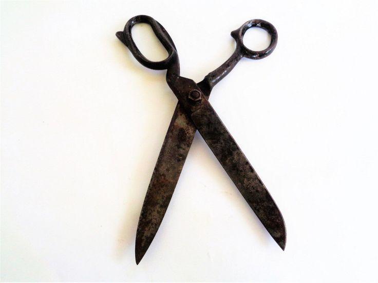 Antique Scissors, Antique Metal Scissors, Hand Forged Iron Scissors, Collectible Primitive Handmade Tool, Rustic Home Decor, Farmhouse decor by LaBoutiqueDeValentin on Etsy https://www.etsy.com/uk/listing/385291444/antique-scissors-antique-metal-scissors