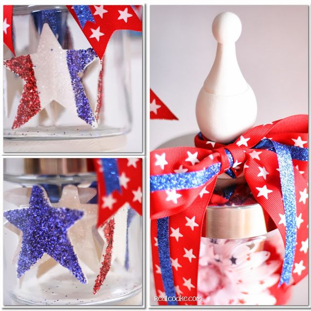 4th of July decorating idea of Apothecary Jars from www.realcoake.com