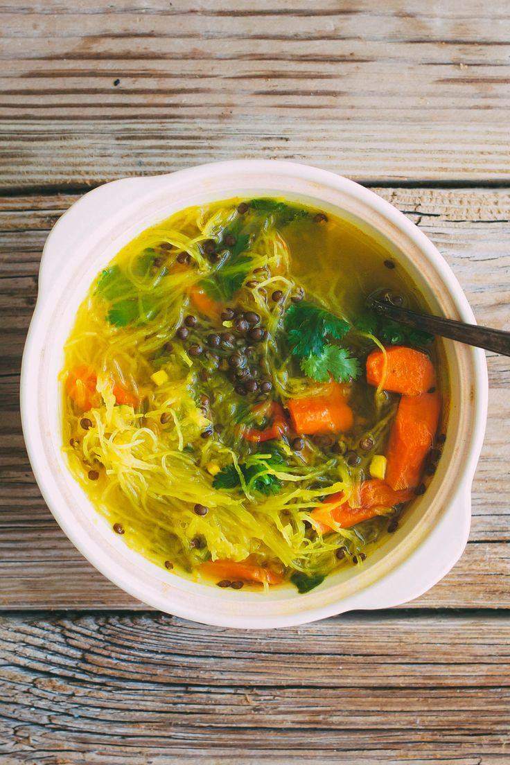 Squash Noodle Soup with Turmeric Ginger Broth, Roasted Carrots and Beluga Lentils