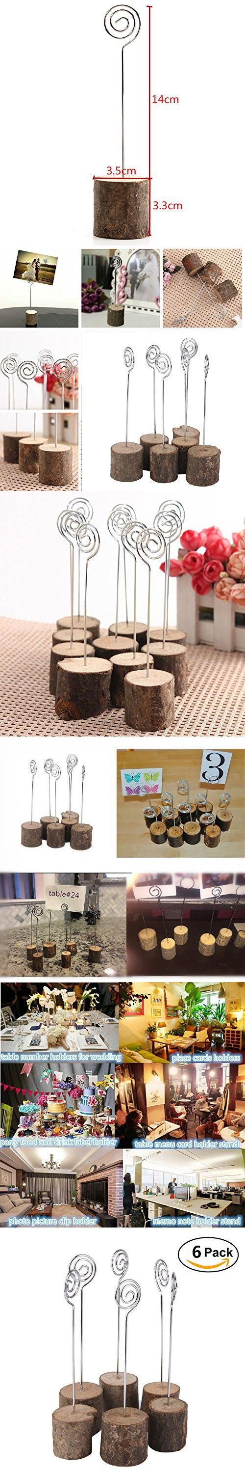 Rustic Real Wooden Wedding Table Holders Wedding Table Number Holders Card Holders Table Decorations Picture Memo Note Photo Clip Holder (6 pack)