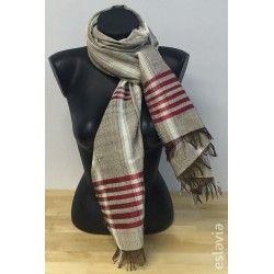 Foulard de algodón con rayas rojas