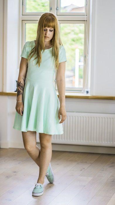 #mint #vans #dress #tattoos #brown hair #bangs #mintdress