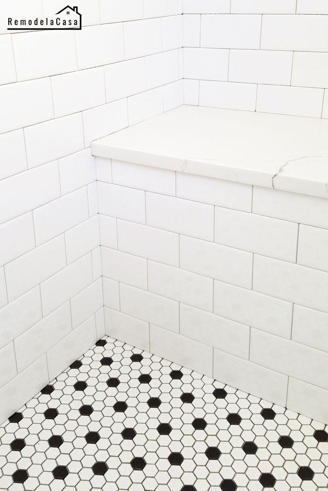 Bathroom Renovation Installing Subway Tile And Hex Black And White Porcelain Tile On White Bathroom Tiles