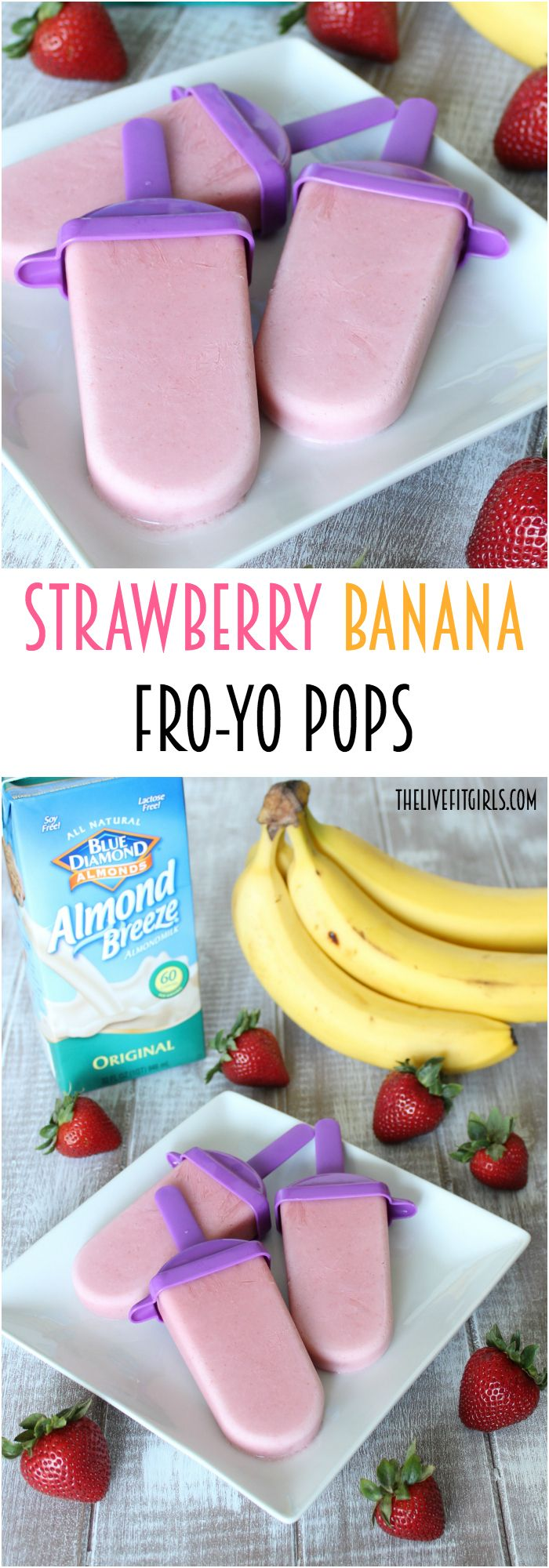Beat the heat this summer with these simple Strawberry Banana Frozen Yogurt Popsicles. They're high in protein and #sugarfree! Just 4 ingredients, made with @BlueDiamond Almond Breeze! #ad