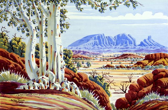 (Photo: 'Mt Sonder' by Central Art Aboriginal Watercolour Artist Peter Taylor Tjutatja) Albert Namatjira, an initiated Western Aranda stock man was tutored to paint with watercolour by Rex Batterbee while he was at the Hermannsburg Mission in the 1950's.