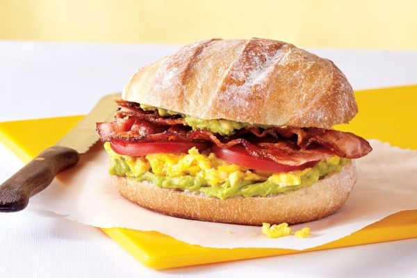 B.E.A.T. Sandwiches - Get more protein in your lunch! Bacon, scrambled eggs, avocado and tomato come together in minutes for this quick and tasty breakfast sandwich.