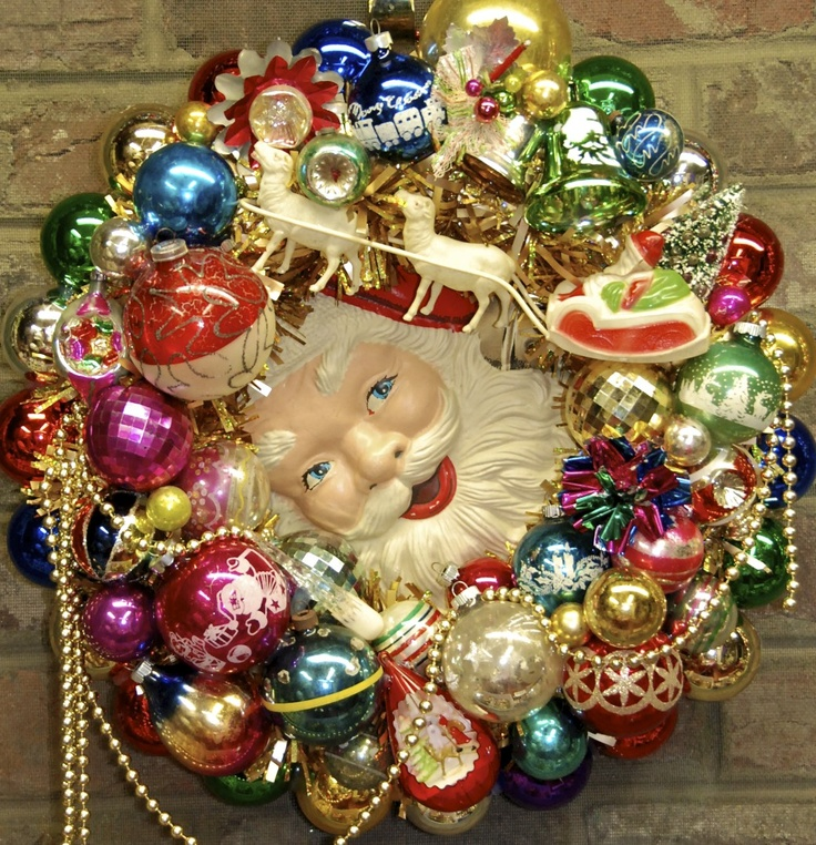 """Santa's Dream"" wreath made from vintage Christmas ornaments ©Glittermoon Productions LLC"