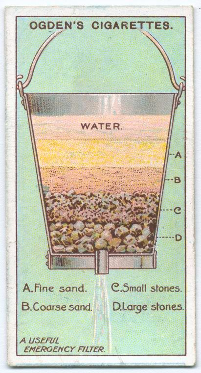 A Useful Emergency Water Filter. Fine sand down to large stones. Pretty brilliant, really. Boy Scouts rock. 1903