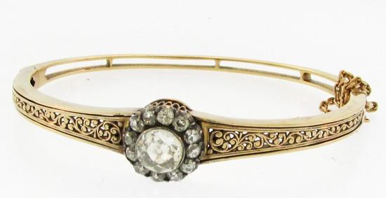 Victorian Diamond Cluster Bangle
