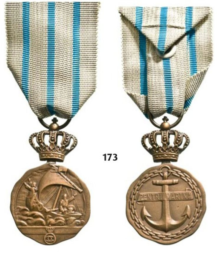 ROMANIA: Medal of Maritime Virtue (1938). A 3rd class with crown 1st model for navigating personnel awarded for merits in time of peace. Breast Badge in bronze with crown and cipher of Carol II with original ribbon.