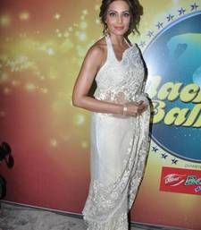 Buy Bipasha Basu White Heavy Stylish designer Saree bipasha-basu-saree online
