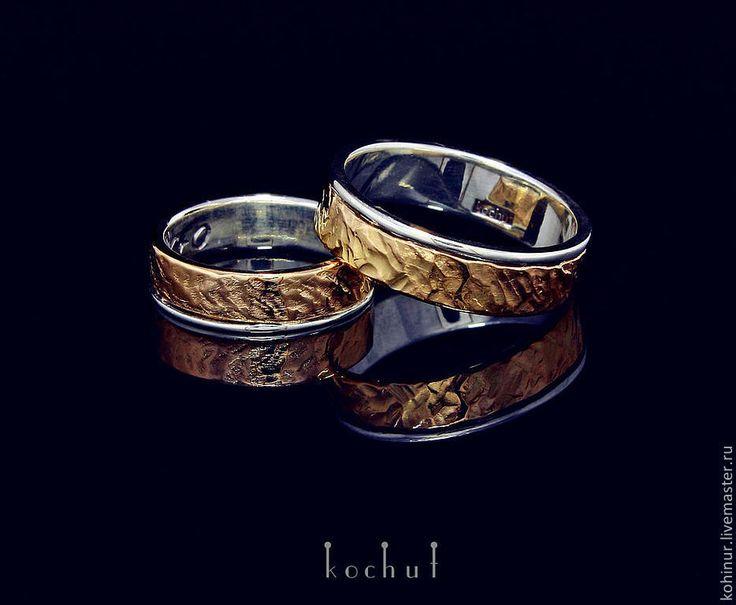 """Купить Обручальные кольца """"Memoria"""". Золото, серебро. - черный, серебро, золото, кованые кольца"""