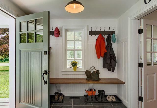 like the dark bench with white walls Love both the doors and the double entrance separating a mud room!!