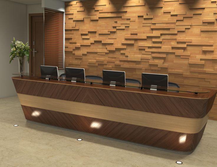 reception desk wood wall panels