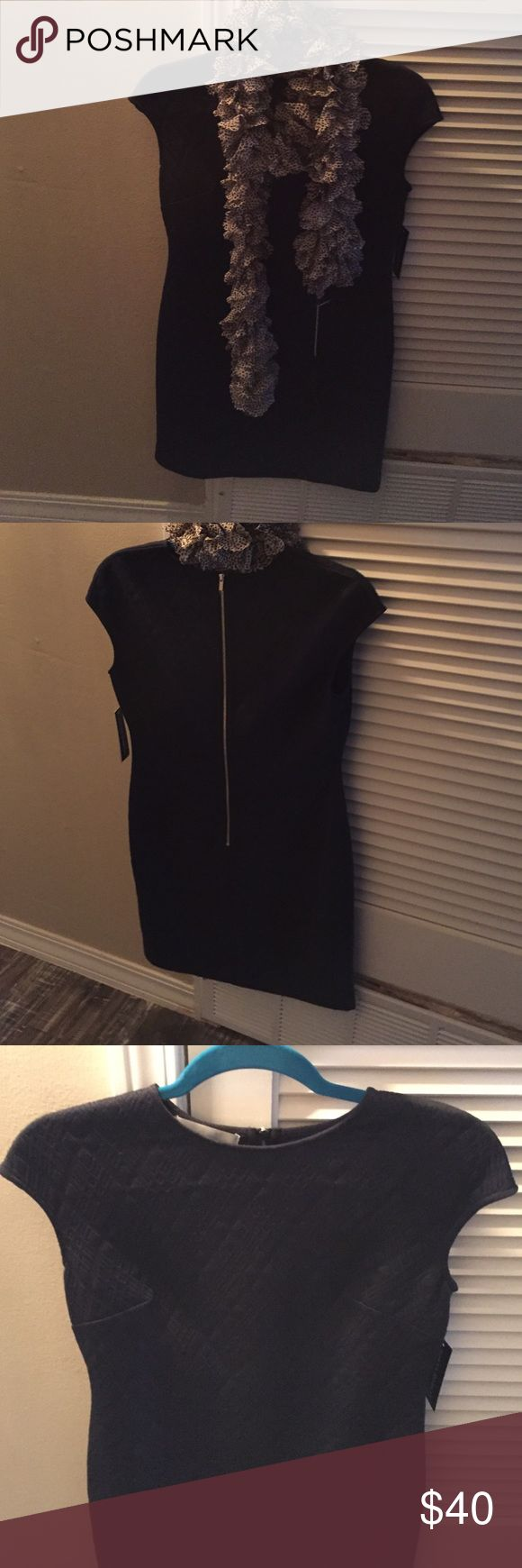 Donna Morgan Dress with Scarf Donna Morgan Women's Blue Textured Sheath Dress Donna Morgan Dresses Midi
