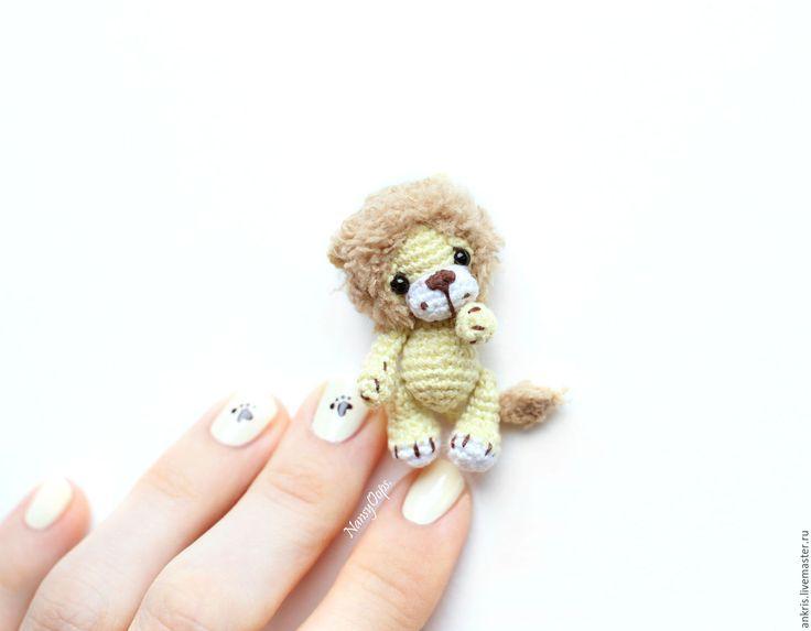 Купить Миниатюрный львенок амигуруми 4,5 см вязаная игрушка - амигуруми, мини амигуруми